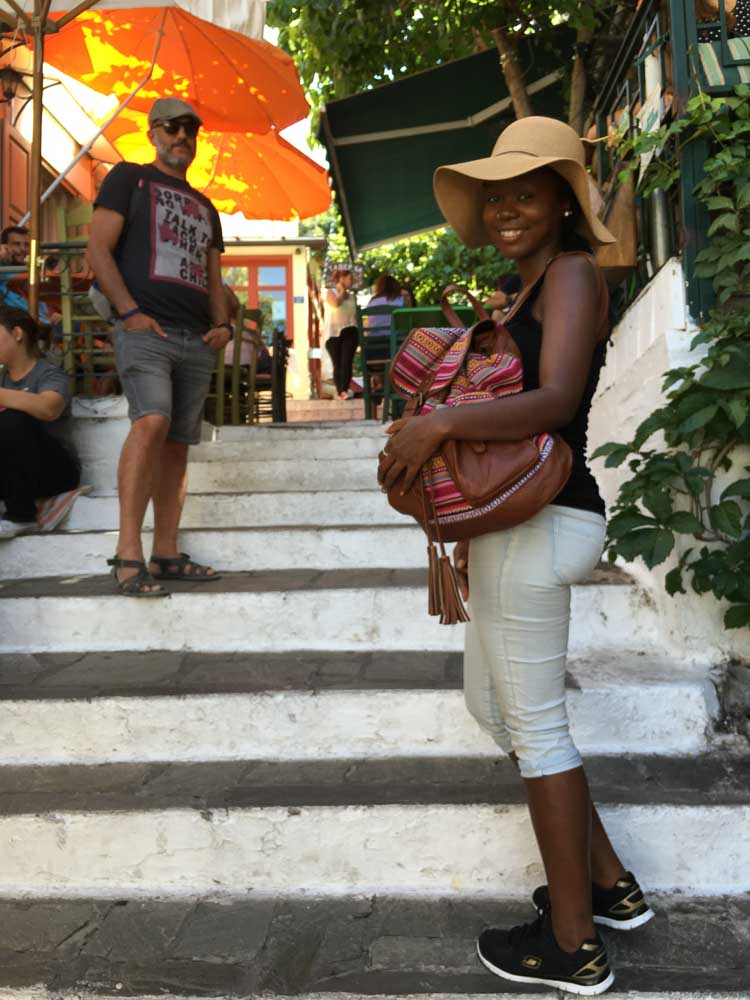 Standing on the stairs in the streets of Plaka