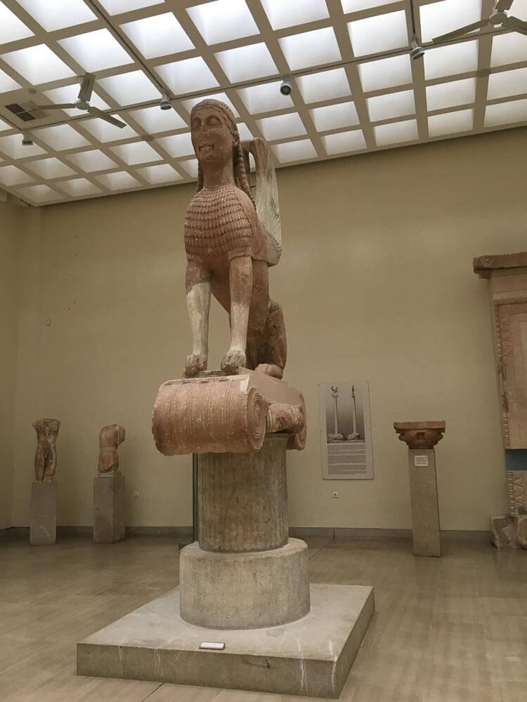 The Naxian Sphinx In the Museum at Delphi Greece